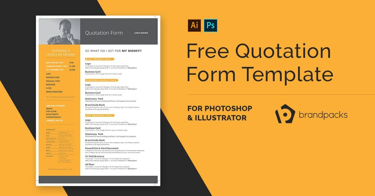 Free Quotation Form Template for Photoshop & Illustrator - BrandPacks