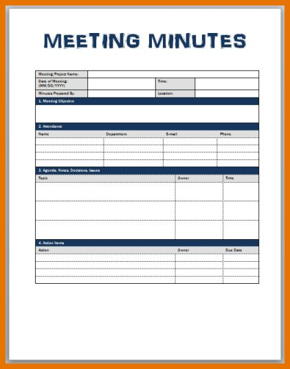 6+ meeting minutes templates | Itinerary Template Sample