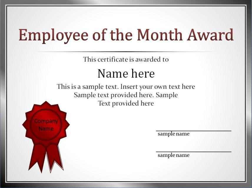 Employee Of The Month Certificate Template Free - Template ...