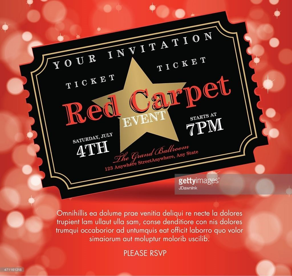 Vintage Style Red Carpet Event Invitation Template Red Stairs ...