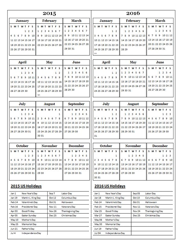 2015 Two Year Calendar - Free Printable Templates