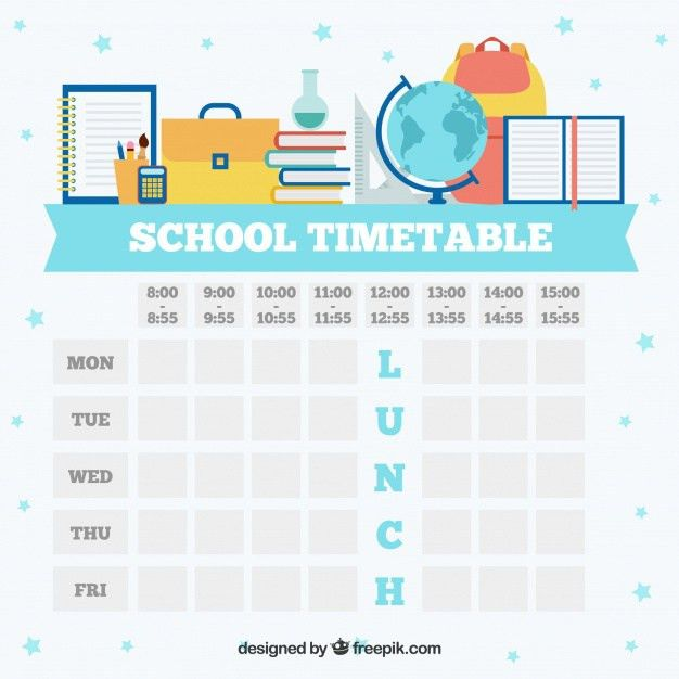 White school timetable template Vector | Free Download