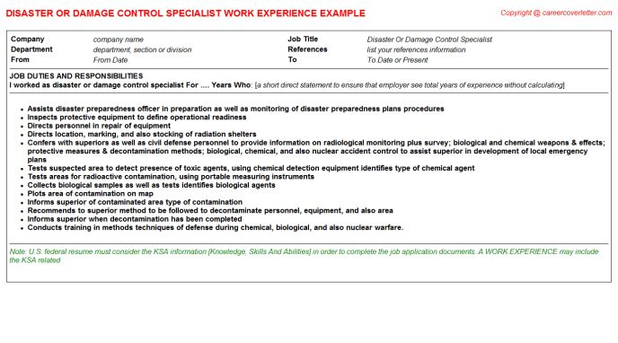 Access Control Specialist CV Work Experience Samples