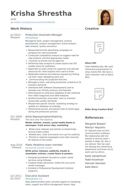 Associate Manager Resume samples - VisualCV resume samples database