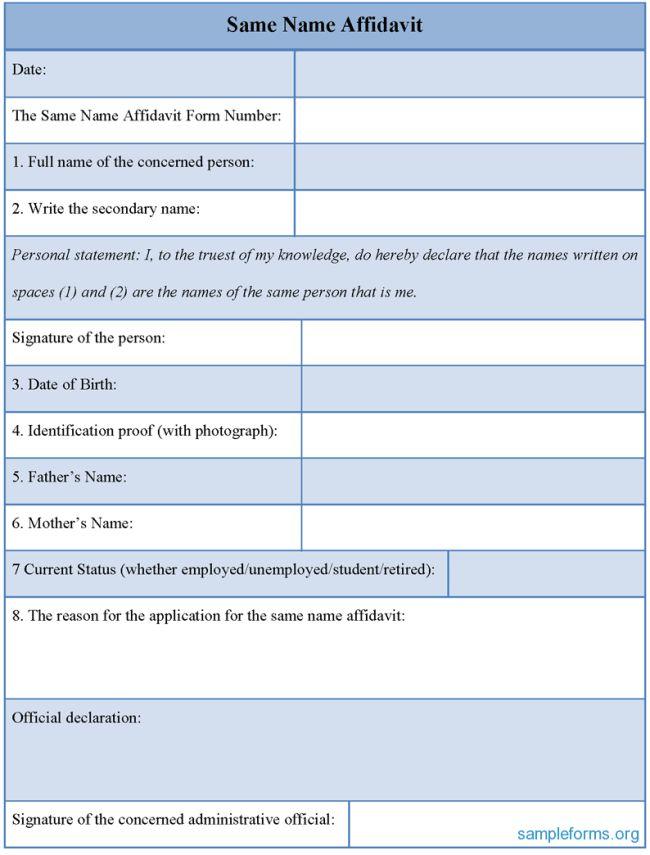 Impressive Example of General Affidavit Form with Identification ...