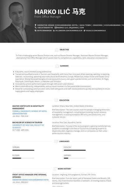 Front Office Manager Resume samples - VisualCV resume samples database