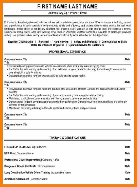 truck driver sample resume resume cv cover letter driver resume ...
