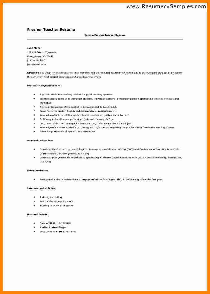 6+ resume format for fresher teachers pdf | job resumed