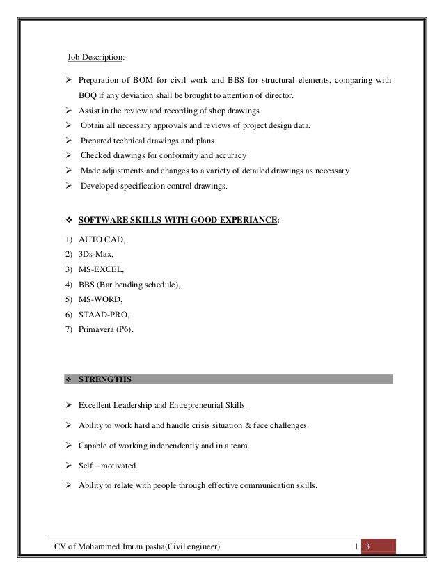 CV of Mohammed Imran Pasha ( Civil Site Engineer Cum QS)