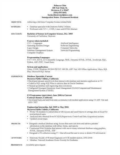 Computer Science Graduate Resume Sample objective experience ...