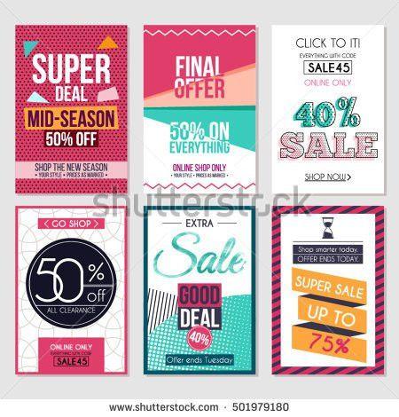 Set Mega Sale Flyer Poster Banner Stock Vector 259218458 ...