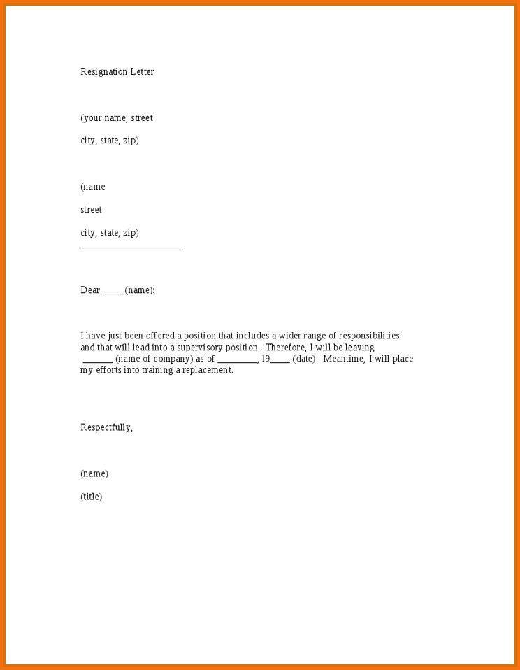 8 Short Simple Resignation Letter Sample Servey Template Sample ...
