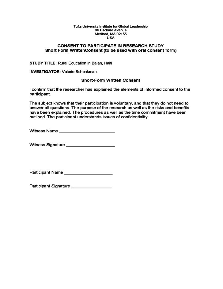 Research Consent Form Sample - Tufts University Free Download