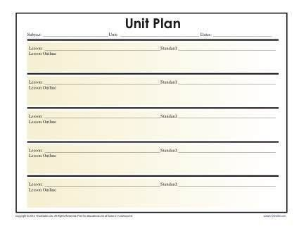 Simple Unit Lesson Plan Template - Reading Worksheets, Spelling ...