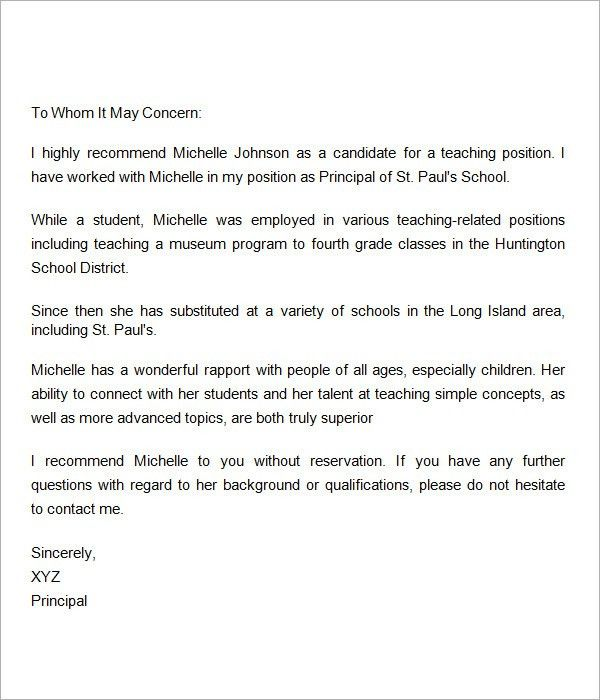 Reference Letter For Teachers. A Letter Of Recommendation For .