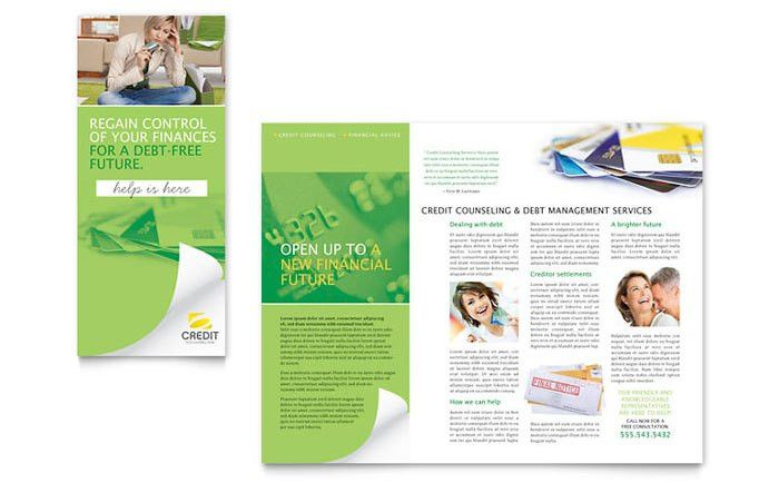 Consumer Credit Counseling Tri Fold Brochure Template Design