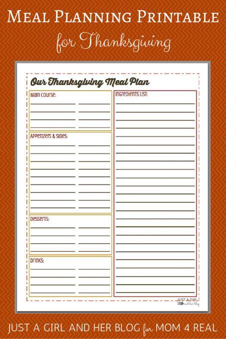 Thanksgiving Menu Meal Planning- Free Printable! - Mom 4 Real