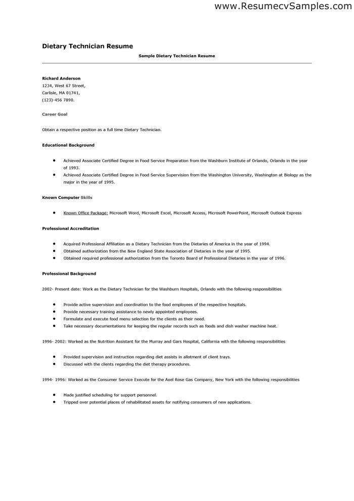 dietary aide resume sample dietary technician resume ...