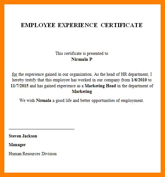 3+ experience certificate sample in word format | fancy-resume