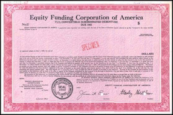 Equity Funding Corporation of America - RARE Fraud Specimen ...