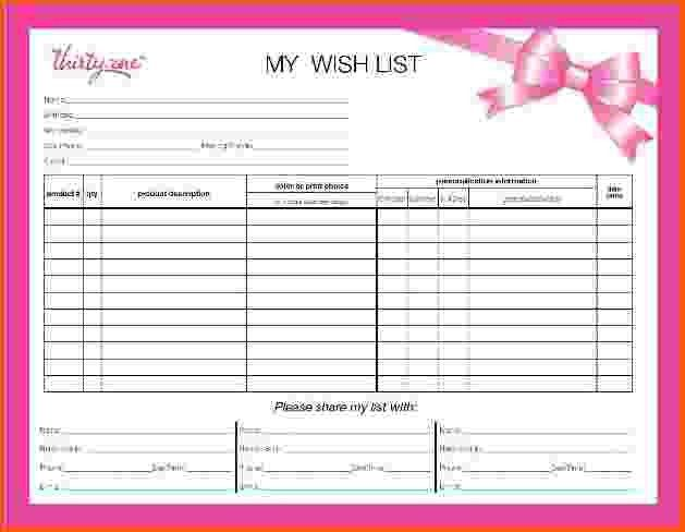4+ wish list template | Survey Template Words