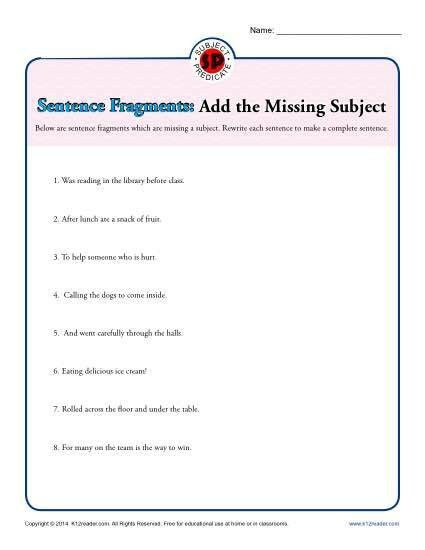 Sentence Fragments: Add the Missing Subject | Printable Worksheet