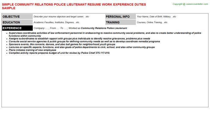 police lieutenant resume chief of police resume samples visualcv ...