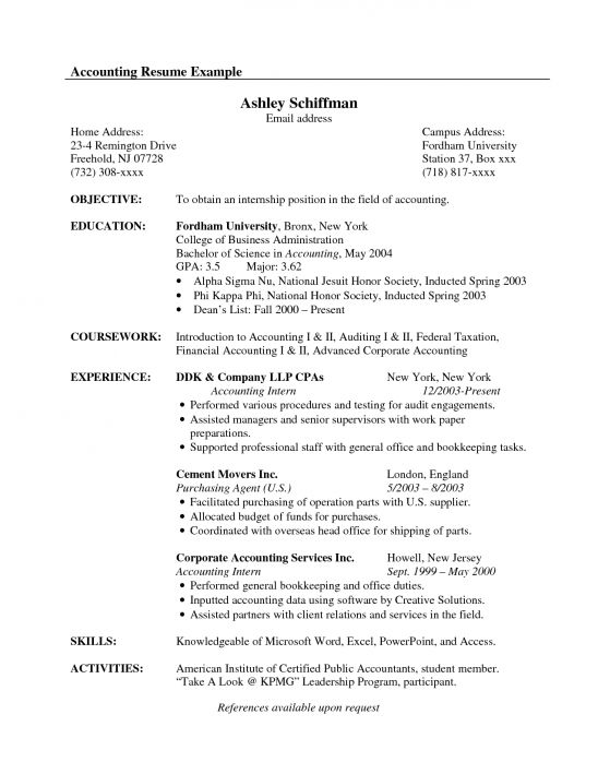 entry level accounting resume samples free entry level accountant ...