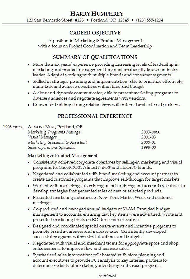 Resume for Marketing and Product Management - Susan Ireland Resumes