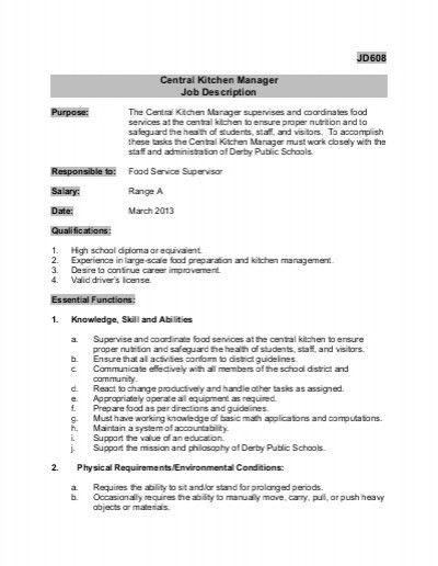 Elegant Incredible Perfect Kitchen Manager Job Description Jd608 Central . Photo
