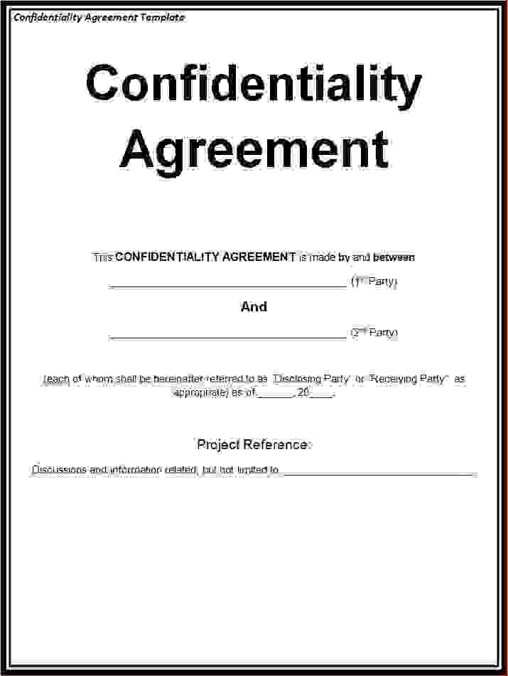 Charming 5+ Free Confidentiality Agreement TemplateReport Template Document .