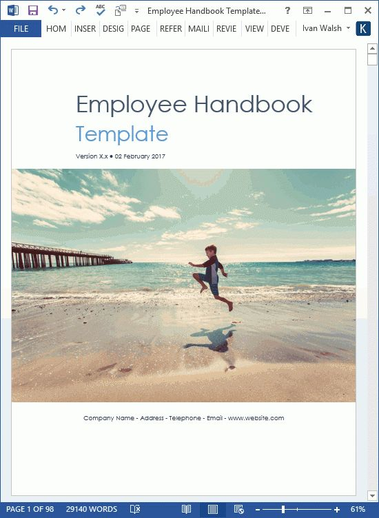 Employee Handbook Template - Download 100 pg MS Word templates & Excel