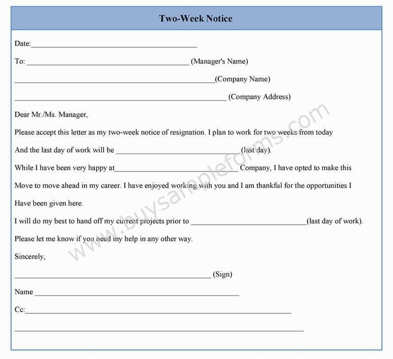 Two Week Notice Form Template in Word, Sample Format | Sample Forms