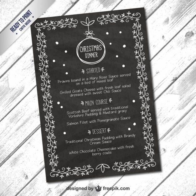 Hand drawn menu christmas board effect template Vector | Free Download