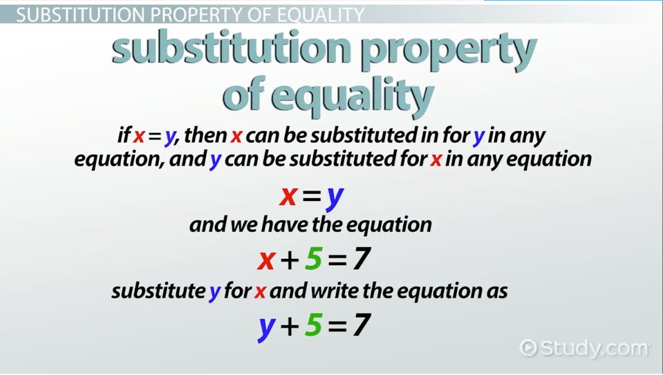 Substitution Property of Equality: Definition & Examples - Video ...