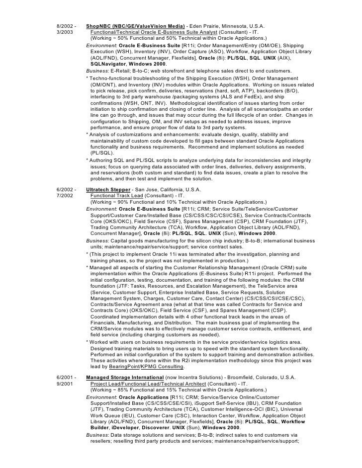 Mark Foy's (Oracle Applications Consultant) Resume/CV