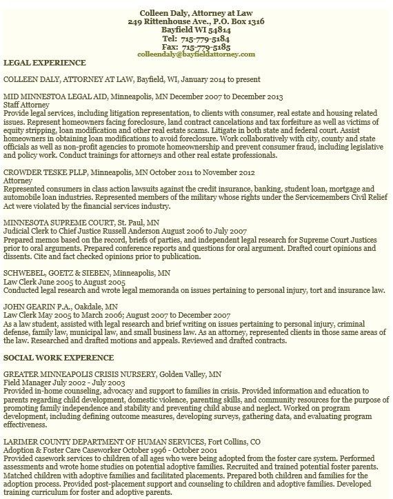 civil law attorney resume