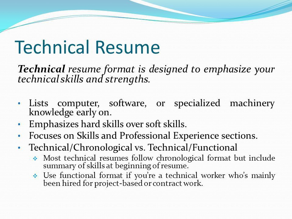 Technical Resume Formats Resume Samples Examples Brightside