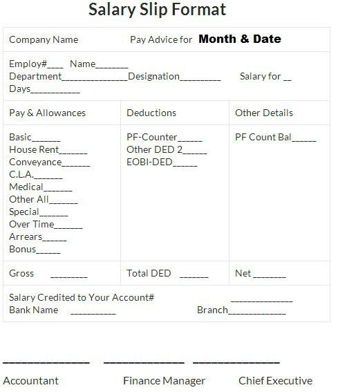 Sample of Salary Slip in Excel | Projectmanagersinn