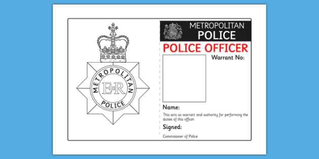Identity Badge Role Play Template - police, id, badge