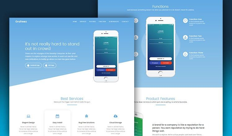 Manjhi Mobile Landing Page Template in Bootstrap - Grafreez