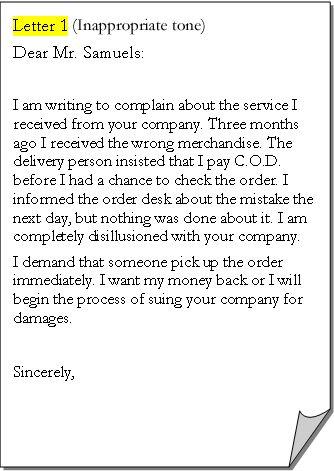 example patient complaint letter. business complaint letter format ...