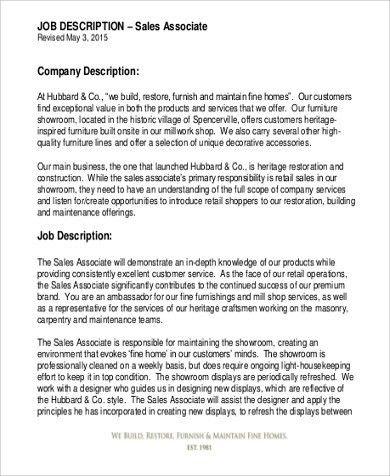 Retail Associate Job Description Sample - 9+ Examples in Word, PDF