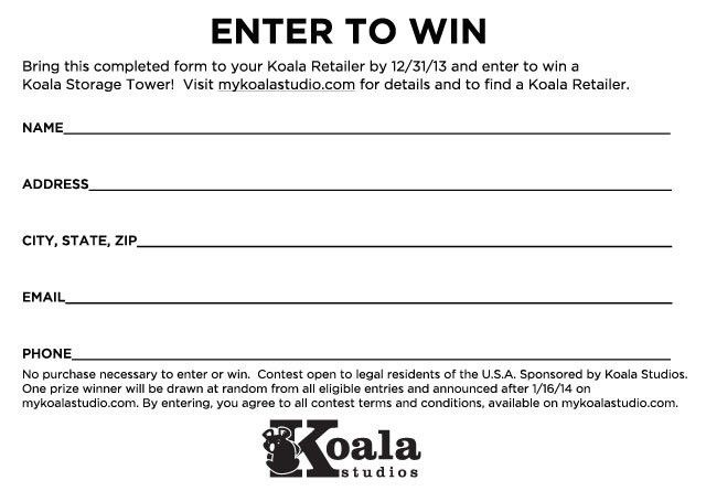 I'm Dreaming of a Koala Christmas Sweepstakes Entry Form   My ...