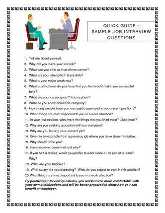 Job Interview Questions | job interview questions sample image ...
