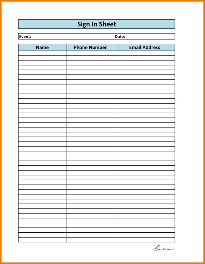 Printable sign up sheet | Authorization Letter Pdf