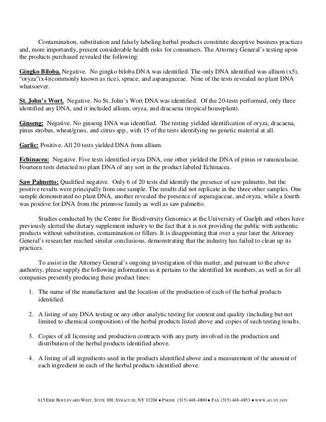 NEW YORK ATTORNEY GENERAL CEASE AND DESIST LETTER HERBAL PRODUCTS