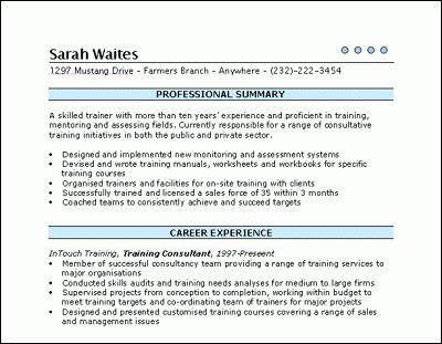 training consultant resume