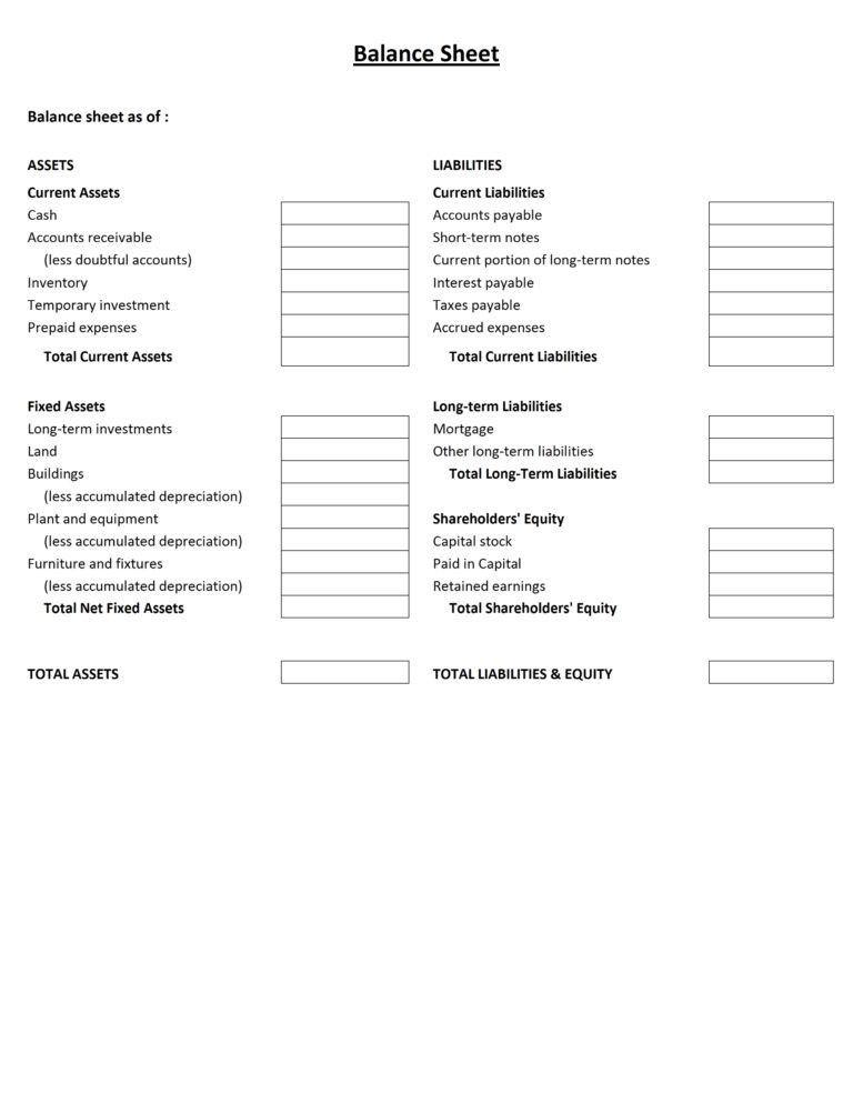 Professional Balance Sheet Templates : vlashed