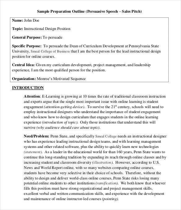 Speech Outline Template - 32+ Free PDF, Word Documents Download ...